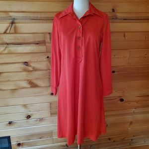 1960s Unlabeled Red Polyester Dress